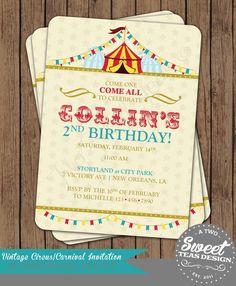 Carnival Circus Birthday Invitation County Fair by 2SweetTeas