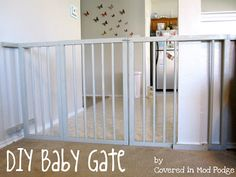 Covered in Mod Podge: DIY Baby Gate {or my husband calls it a baby cage} inch, 10 foot long PVC Gorilla Glue 2 hinges of your choice Lock of your choice Spray paint {we used three cans} Drill and bit