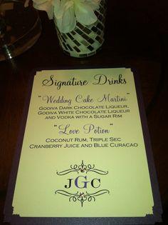 Custom Signature Drink Wedding Card by BellaEventDesigns on Etsy, $15.00