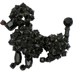 Vintage Signed SCHREINER New York Black Rhinestone Poodle Figural... ❤ liked on Polyvore featuring jewelry and brooches