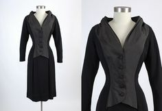 Rare 1940s 1950s Jacques Fath Black Crepe and by hemlockvintage, $2000.00