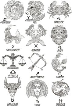 Colorful Zodiac emblems collection isolated on white backdrop. Hindu Tattoos, Symbolic Tattoos, Tribal Tattoos, Tattoos Skull, Polynesian Tattoos, Geometric Tattoos, Sleeve Tattoos, Horoscope Tattoos, Zodiac Sign Tattoos