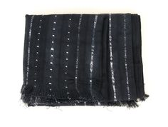 """Throw with fringes Made with hand woven and hand dyed cotton in West Africa Works as a throw or table cloth Size - 49"""" x 63"""" Since this item is indigo dyed, it'"""