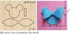 The Blue Mickey Mouse bow wood moulds die cut accessories El Azul Mickey Maus Arco Madera Moldes Gestanzte Accesorios Felt Hair Clips, Bow Hair Clips, Card In A Box, Bow Wood, Disney Hair Bows, Mickey Mouse, Bow Template, Diy Accessoires, Bow Pattern