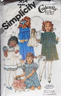 Vintage Sewing Vintage Cinderella sewing pattern from Simplicity Childrens Sewing Patterns, Vintage Sewing Patterns, Clothing Patterns, Love Sewing, Baby Sewing, Sew Baby, Vintage Outfits, Vintage Fashion, Vintage Dresses