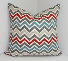 NEW Decorative Pillow Cover Maroon Blue Grey Zig zag by HomeLiving, $16.00