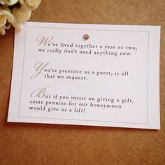 Wedding Gift Poem Pots And Pans : Wedding Poem Cards For Invitations - Money Cash Gift Honeymoon ...
