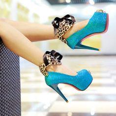 Leopard Bow Tie Ankle Strap Sandals (US$20.49)