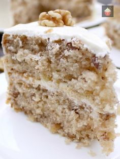Walnut Cake is a delicious easy recipe. the cake is so soft and fluffy! Recipe also for a lovely vanilla frosting. You can make this as a round cake or a loaf, instructions for both. Freezer friendly too. This would also make a nice cake for the holidays! Best Dessert Recipes, Fun Desserts, Sweet Recipes, Delicious Desserts, Cake Recipes, Yummy Food, Freezer Desserts, Food Cakes, Cupcake Cakes