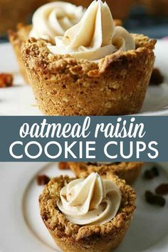Nestled inside an oatmeal cookie cup is a layer of raisin pie filling topped with cinnamon cream cheese. This Oatmeal Raisin Cookie Cup is out of this world! Homemade Desserts, Easy Desserts, Delicious Desserts, Cup Desserts, Oatmeal Cookie Recipes, Oatmeal Raisin Cookies, Baking Recipes, Cake Recipes, Dessert Recipes