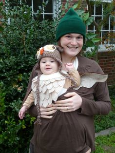 #babywearing #halloween #owl feathers attached to a bib, leaves on a green hat, find a brown shirt.