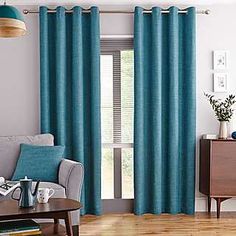 Elements Vermont Teal Lined Eyelet Curtains | Dunelm