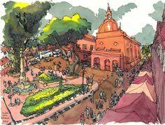 Urban Sketchers: Christ Church in Malacca
