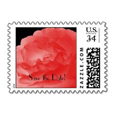 """Save the Date Coral Rose Petals Postcard Stamp - This photo of coral rose petals on a black background is a simple yet elegant postage stamp for postcard """"Save the Date"""" announcements. Can be used for any occasion. It really dresses up your """"Save the Date"""" postcard! For matching postcards search for """"Save the Date"""" at my zazzle shop at http://www.zazzle.com/socolikcardshop*. Original photo by A&M Socolik. All Rights Reserved © 2014 A&M Socolik #SaveTheDate #PostageStamps #Coral"""