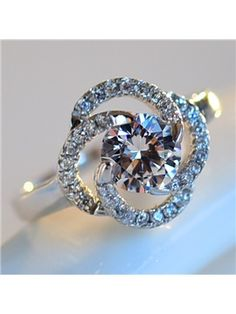 Zircon and Crystal Inlaid Ring