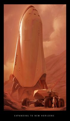 SpaceX spaceship on Mars by Alexandra Hodgson. What could be more sci-fi than musk's absurd promise to colonize mars (in five years, give or take a few decades) Spaceship Design, Spaceship Concept, Concept Ships, Space Ship Concept Art, Spaceship Art, Cosmos, Arte Sci Fi, Sci Fi Art, Cyberpunk
