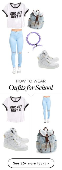 """My school style"" by babyrachel350 on Polyvore featuring H&M, Aéropostale, Moschino, women's clothing, women, female, woman, misses and juniors"