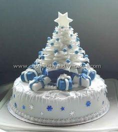 White and Blue Christmas Cake