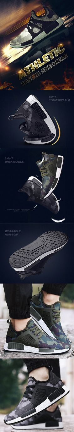 Men Camouflage Mesh Breathable Outdoor Running Shoes Athletic Casual  Sneakers 0590aeac12