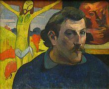 Paul Gauguin, Autoportrait au Christ jaune 1889, Paris, musée d'Orsay