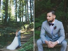light suit and bow-tie for this bearded groom
