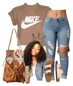 """'Neva let a broke N* break ya heart'"" by muvaaliyah ❤ liked on Polyvore featuring NIKE, TravelSmith, Forever 21, Anne Klein and Chicnova Fashion"