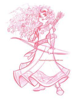Sketch of Merida, done at Disneyland. Col-erase pencil Brianna Cherry Garcia