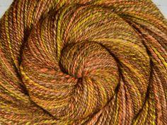 Handspun Yarn, Worsted Weight - HARVEST MOON - Merino/Camel/Alpaca/Mulberry Silk, 195 yds, weaving yarn, gift for knitter by BlackSheepGoods on Etsy