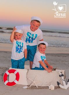 Children Portrait on the beach in a Boat!  Boys Pose as Sailors in a Boat Photography Prop