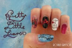 We absolutely LOVE these PLL inspired nails by Rosalie Grayson! | Pretty Little Liars