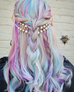 Rainbow pastel hair by hairbykaseyoh
