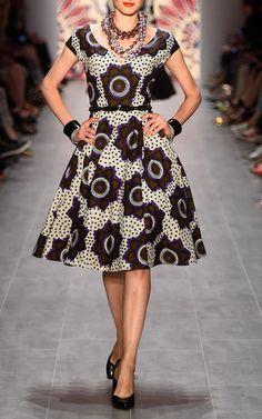 Chocolate Stars Makeba Dress by Lena Hoschek for Preorder on Moda Operandi African Inspired Fashion, African Print Fashion, Africa Fashion, Fashion Prints, Fashion Design, African Prints, Fashion Styles, African Attire, African Wear
