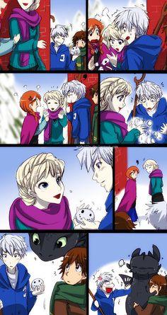 If Jack Frost, Hiccup, Anna, and Elsa had an anime show. Disney Crossovers, Cartoon Crossovers, Disney Memes, Disney And Dreamworks, Disney Pixar, Disney Rapunzel, Disney Princesses, Disney Characters, Cute Disney