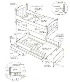 Woodworking plan for bed. Complete woodworking plans with detail descriptions can be found on my website: www.tedswoodworkplans.com