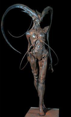 """ex0skeletal: """"""""Demon Girl by Andrew Baker """" """" Personal sculpture, 'Demon Girl' by Andrew Baker, Senior Concept Designer"""