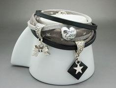 bracelet manchette multi lien cuir daim noir gris noeud étoile : Bracelet par dans-mon-atelier