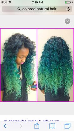 Pretty blue & green naturally curly hair!