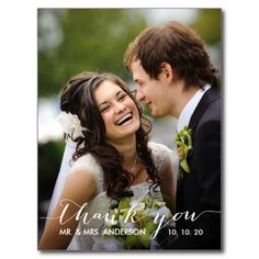 Simple Handwriting Wedding Thank You Postcard by Wedding Designer Elke Clarke© for the #monogramgallery store on Zazzle. Purchase at www.zazzle.com/monogramgallery* or pin to your #wedding ideas board