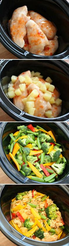 Sweet Chili Pineapple Chicken Easy Slow Cooker Meal ~ This easy and delicious crock pot recipe combines Thai chili rice with pineapple and chicken. It tastes a little like sweet & sour chicken, but healthier!