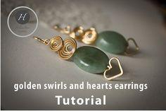 Gold swirls and hearts earrings tutorial by HelenaBausJewellery Wire Jewelry Earrings, Heart Earrings, Stud Earrings, Diy Jewellery, Unique Jewelry, Handmade Jewelry Tutorials, Earring Tutorial, Jewelry Patterns, Swirls