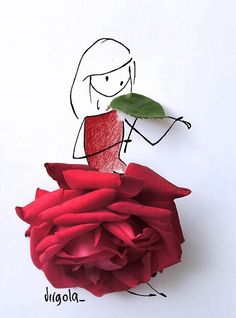Drawing of girl wearing a dress made out of a red rose & leave used as a violin art