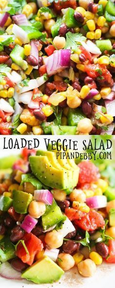 Loaded Veggie Salad Loaded Veggie Salad with Chickpeas and Black Beans This salad is VERSATILE and packed with healthy ingredients Super delicious side dish party salad or wrap filling Party Salads, Party Appetizers, Party Snacks, Party Dishes, Dinner Dishes, Veggie Appetizers, Appetizer Salads, Clean Eating For Beginners, Clean Eating Snacks
