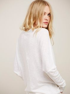 Camilla Christensen || FP WE THE FREE Santa Cruz Semi-Sheer Super Drapey Long-Sleeve Henley Tee (White)