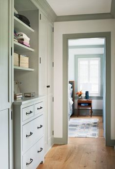 Upstairs Hallway in Historic Home Built In Dresser, Built In Cabinets, Cupboards, Beautiful Interior Design, Beautiful Interiors, Harbor House, Grey Shelves, Bungalow Homes, Painting Trim