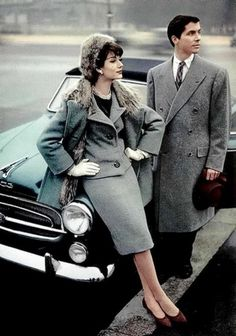 Simone in a wool ensemble with a fur-lined coat by Jean Patou 1957