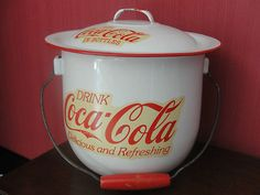 Coca Cola Enamelware pail with lid - extremely rare!