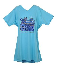 Indigo & Purple Cats Sleep Cover Short-Sleeve Tee by Laurel Burch #zulily #zulilyfinds