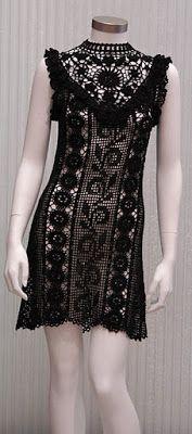 mała czarna - szydełko /// As Receitas de Crochê: Vestido de crochê feito em tiras
