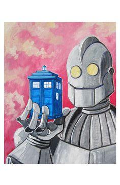 The Iron Giant holding the Tardis! #doctorwho