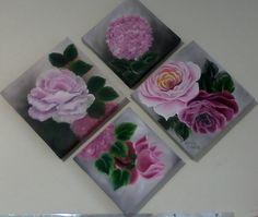 Rosas e Hortências Oil On Canvas, Roses, Flowers